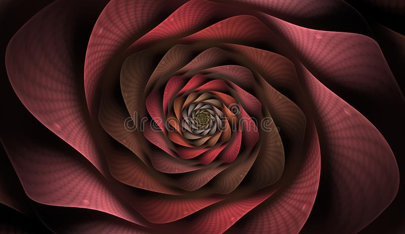 Computer-generated image technology style design reminiscent of a futuristic flower. Abstract fractal with grids and spirals, spiral flower usable for desktop stock illustration