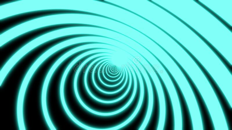 Computer generated neon circles tunnel on a black background consisting of moving blue narrow crossed stripes. Art stock photography
