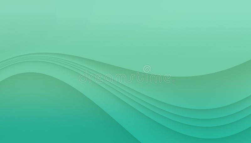 Fresh blue green curving lines abstract background illustration with copy space. stock illustration