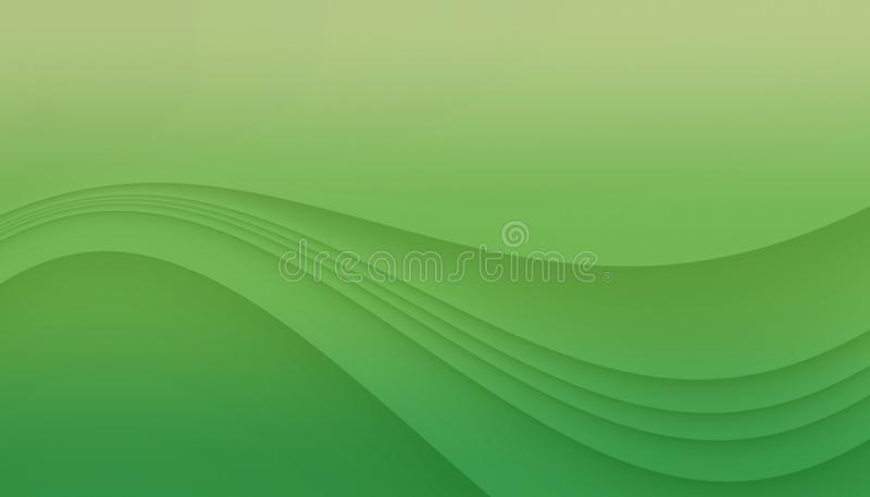 Bright green curving lines abstract background illustration with copy space. royalty free illustration