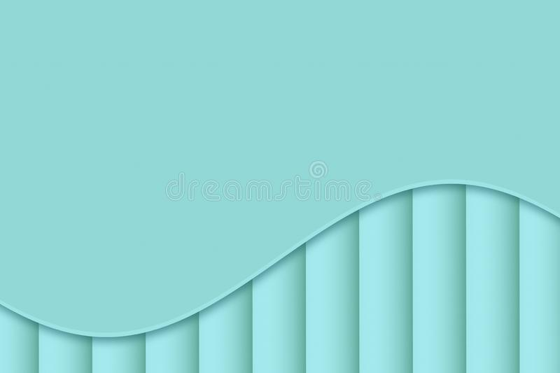 Light icy blue curve and lines abstract wallpaper background illustration. stock illustration