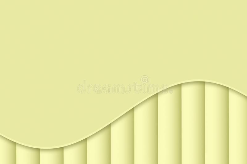 Light lemon yellow curve and lines abstract wallpaper background illustration. Computer generated soft flowing single curve and vertical lines abstract stock illustration
