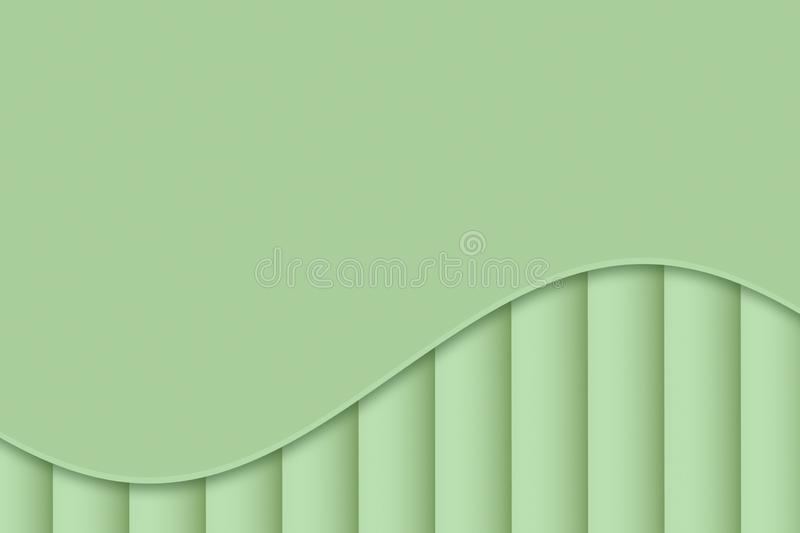 Light sage green curve and lines abstract wallpaper background illustration. stock illustration