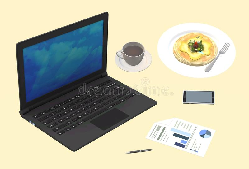 Breakfast over working on a notebook netbook laptop portable computer and smart phone royalty free stock photo
