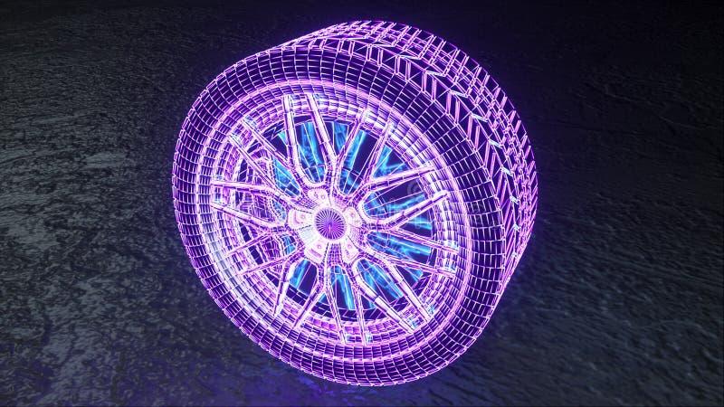 Computer genereerde hologram neonwiel, 3D renderen, abstracte achtergrond, virtuele realiteit, gloeiende neonlijnen vector illustratie