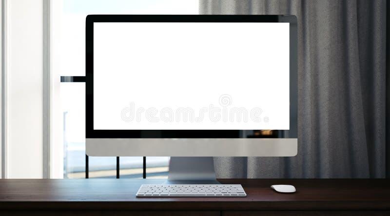 Computer generico di progettazione sulla tavola di legno 3d fotografia stock libera da diritti