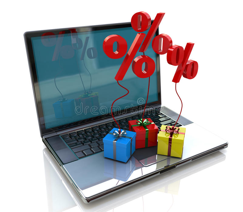 Computer and gift percentages royalty free stock photo