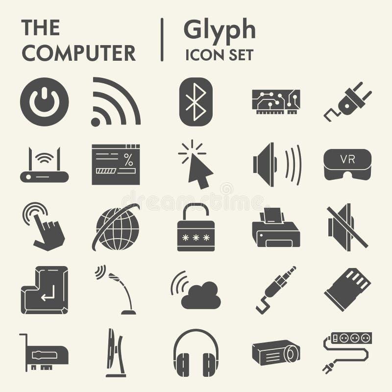 Computer Glyph-Ikonensatz, digitale Symbole Sammlung, Vektorskizzen, Logoillustrationen, feste Piktogramme der Netzzeichen stock abbildung
