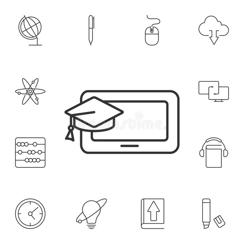 Computer with gradiation cap icon. Simple element illustration. Computer with gradiation cap symbol design from Ecology collection. Set. Can be used for web and vector illustration