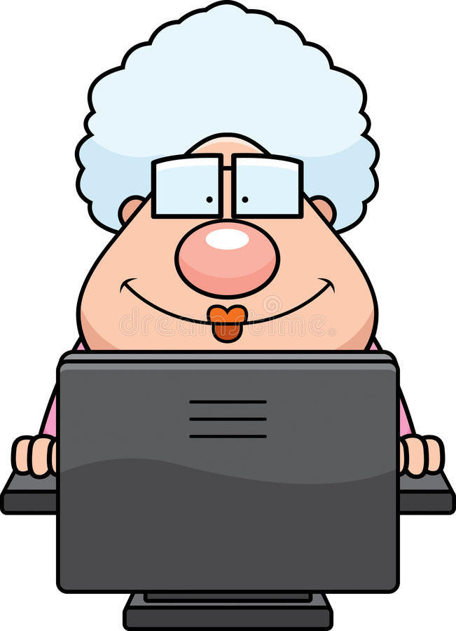 Computer Grandma. A cartoon grandma in front of a computer stock illustration