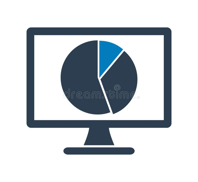 Computer Graph Icon with Pie chart symbol. Flat style vector EPS vector illustration
