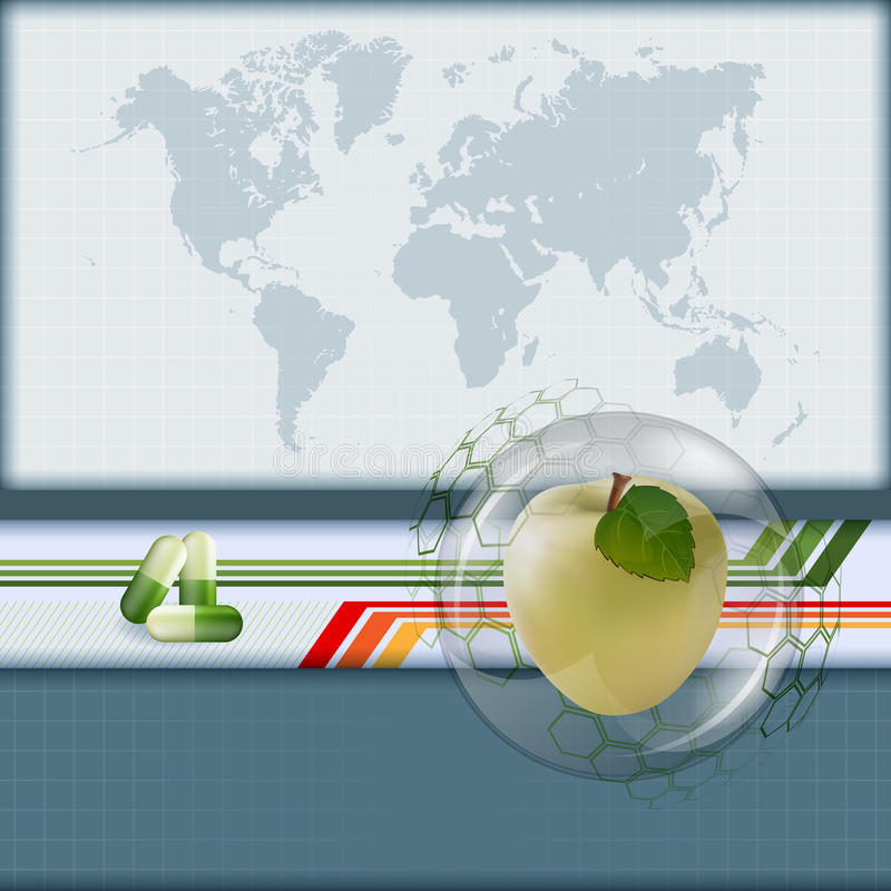apple layout design computer graphic background with world map and apple inside glass