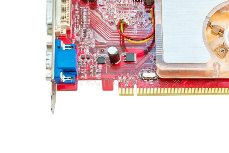 Computer video card on white background. royalty free stock photography