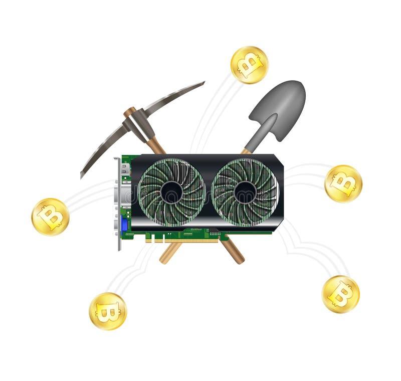 Computer graphic vga card mining bitcoin royalty free illustration
