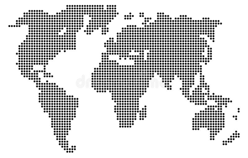 Computer graphic World map of gray round dots royalty free illustration
