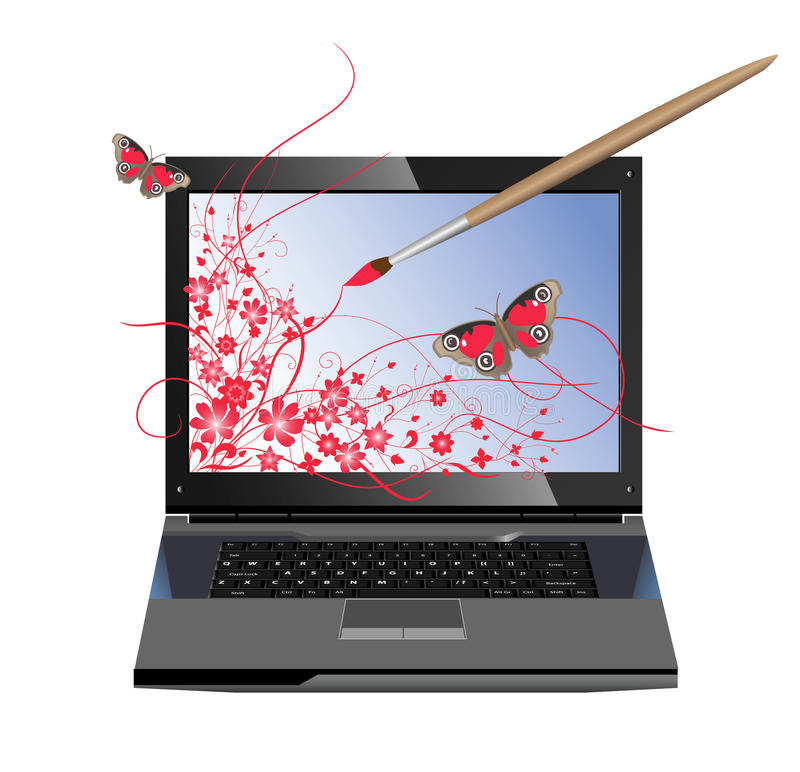 Computer graphics. Conceptual illustration of computer graphics. The paintbrush draws flowers on the screen of laptop royalty free illustration