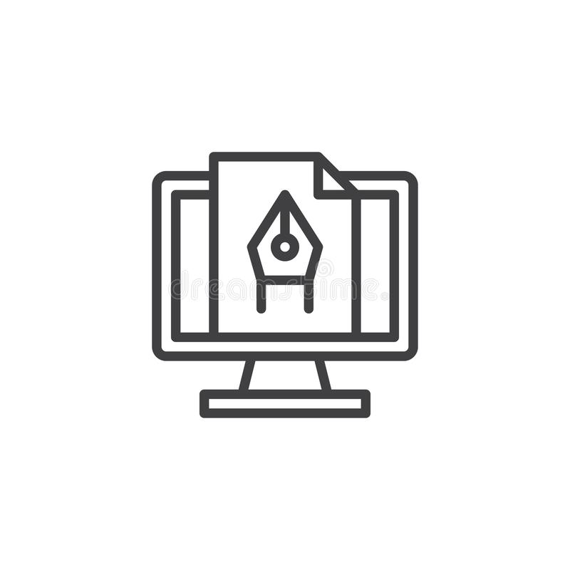 Computer graphics line icon. Linear style sign for mobile concept and web design. Computer pen tool outline vector icon. Symbol, logo illustration. Pixel vector illustration
