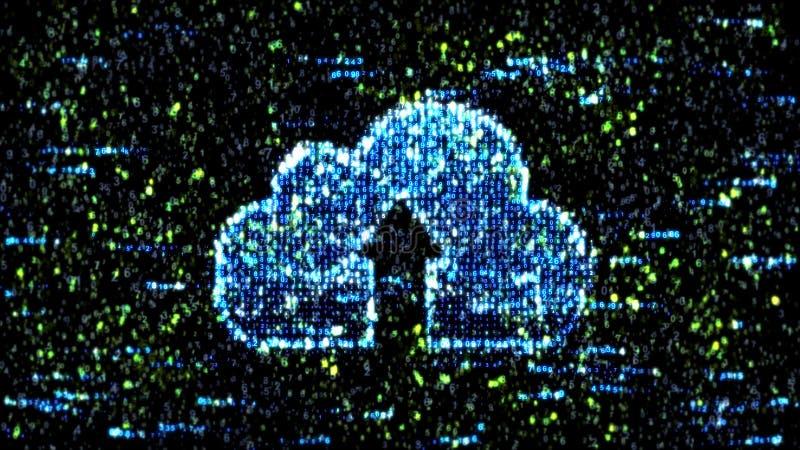Computer groene code Wolkenopslag en computercode royalty-vrije illustratie