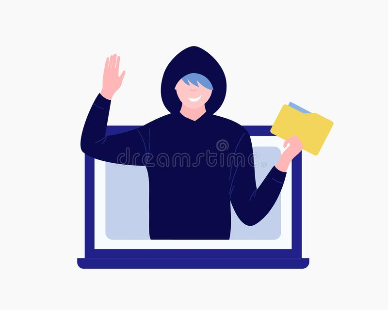 Computer hacker character. Cybercriminal man steals data folder and waves goodbye. Trendy flat style. Vector illustration stock illustration
