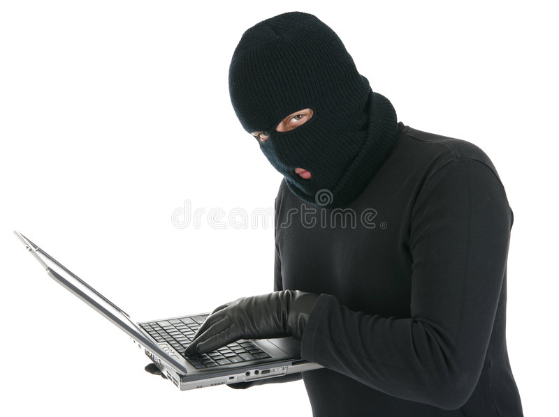 Computer Hacker - Criminal With The Laptop Stock Photography