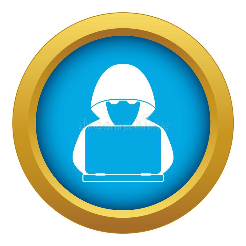 Computer hacker with laptop icon blue vector isolated royalty free illustration