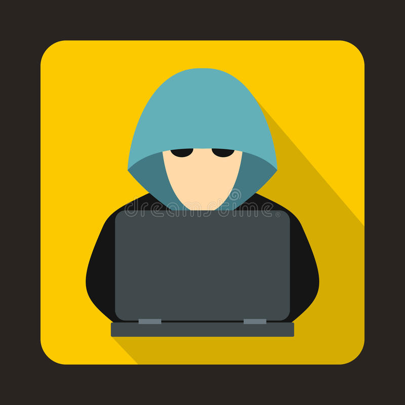 Computer hacker with laptop icon, flat style royalty free illustration