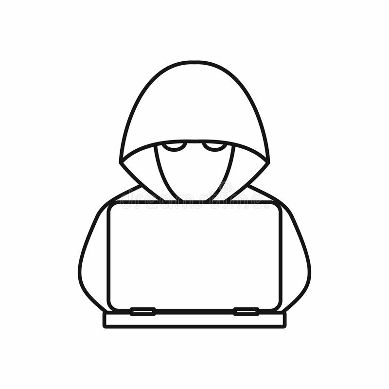 Computer hacker with laptop icon, outline style vector illustration