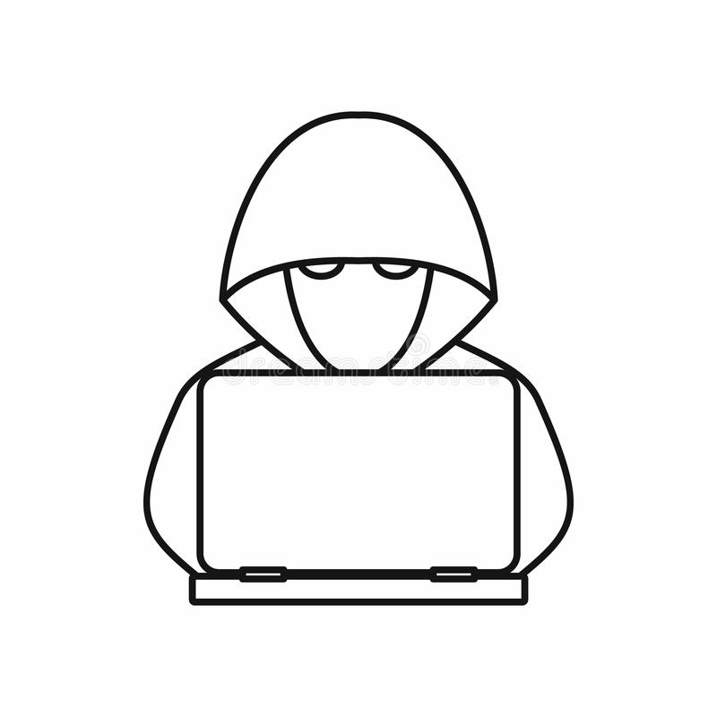 Computer hacker with laptop icon, outline style stock illustration