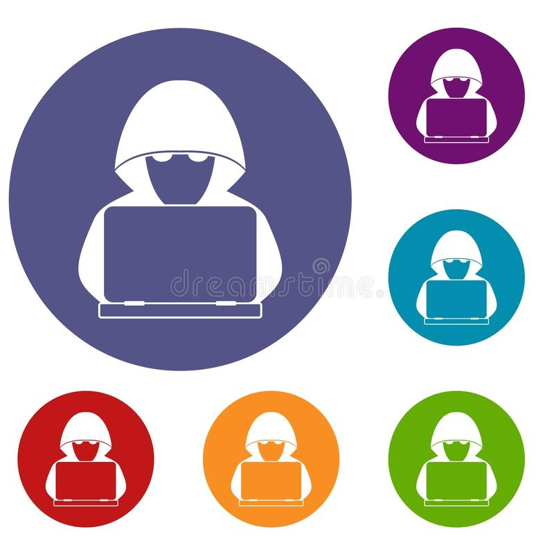 Computer hacker with laptop icons set stock illustration