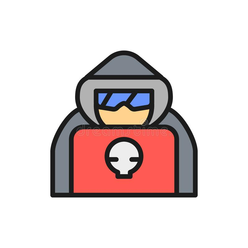 Computer hacker with laptop, spy agent flat color line icon. Vector computer hacker with laptop, spy agent flat color line icon. Symbol and sign illustration stock illustration