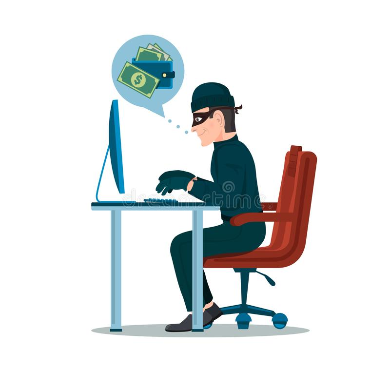 Computer hacker man trying hack the system and steal the money. Thief cartoon character vector illustration stock illustration