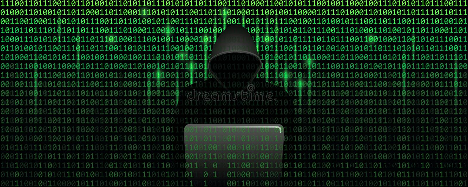 Computer hacker in matrix cybercrime concept with binary code web background vector illustration