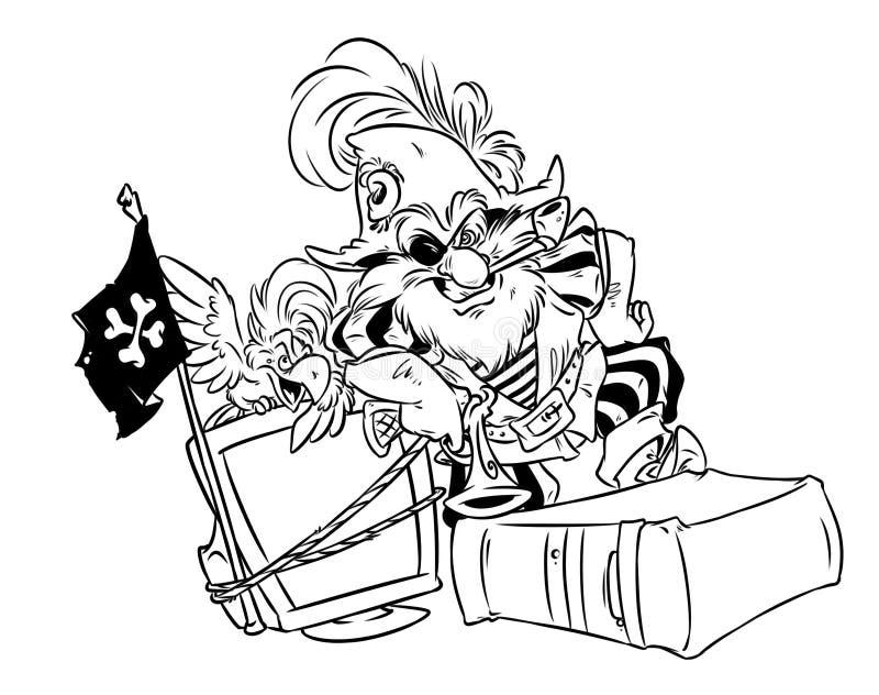 Computer-Hacker-Piratenkarikaturillustration stock abbildung