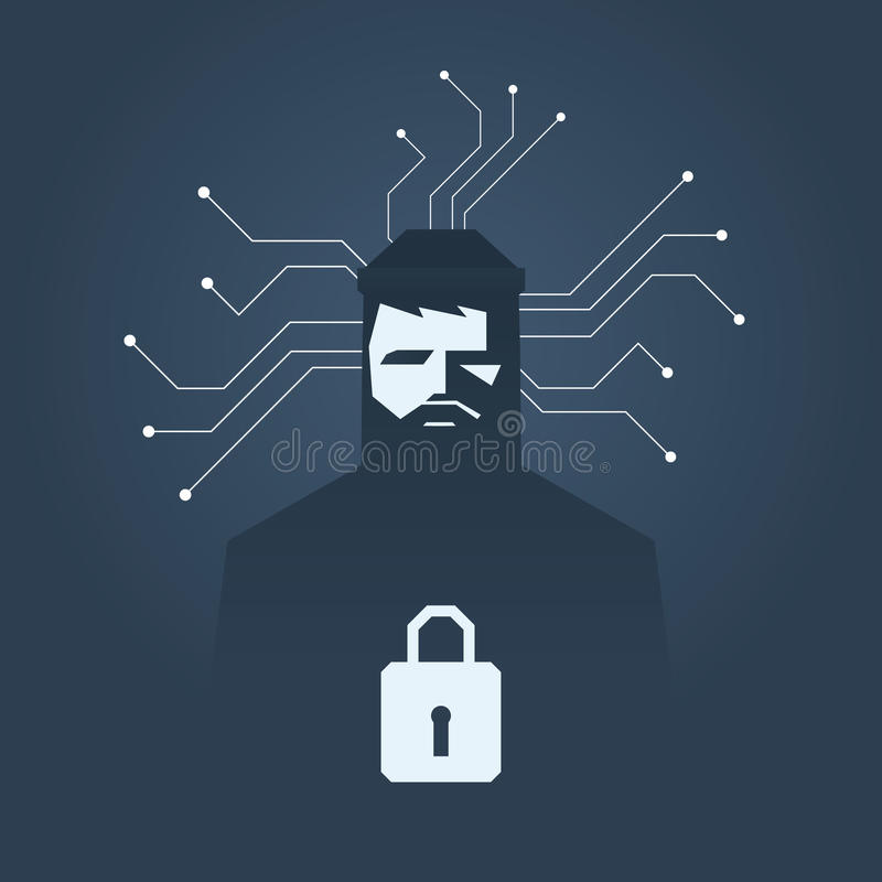 Computer hacker and ransomware vector concept. Criminal hacking, data theft and blackmailing symbol. royalty free illustration