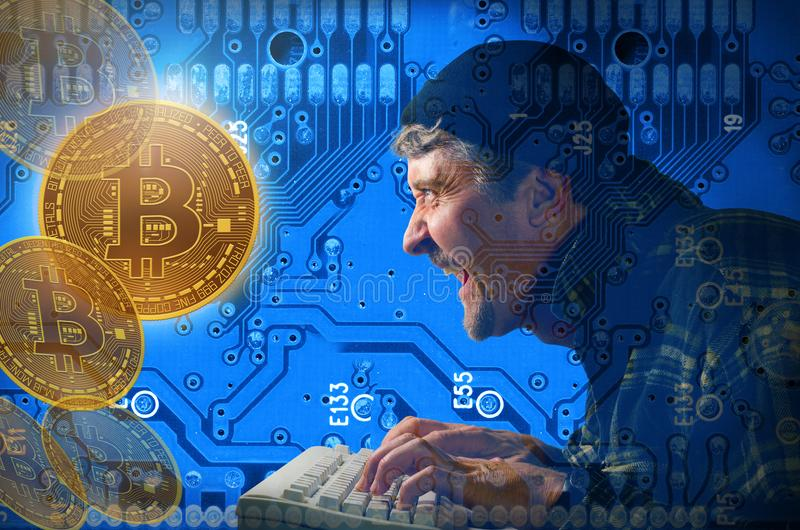 Computer hacker stealing hacking and mining Bitcoin money on internet. Stealing and mining Bitcoins showing hacker against a circuit board background laughing as royalty free stock photography