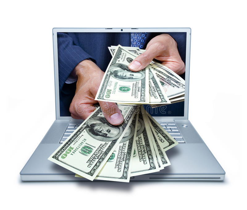 Computer Hand Money Business Services. Cyber cash money coming out of a laptop computer