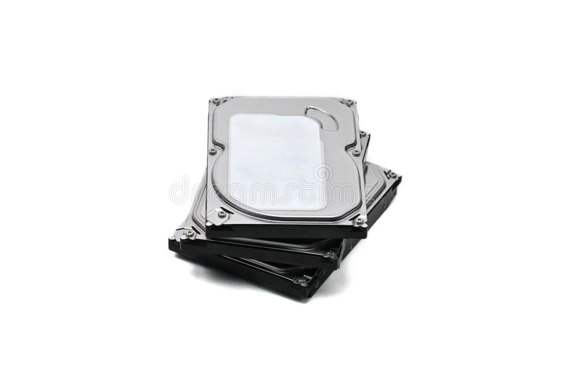 Computer hard disk-hard drive on an isolated background. Internal parts of a hard disk on an isolated white background stock photography