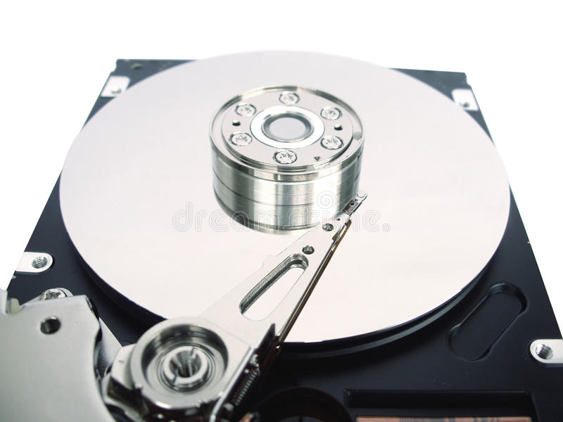 Computer hard disk with opened cover stock image