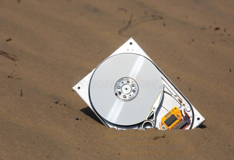 Computer hardrive in sand. Broken computer hardrive in sand royalty free stock image
