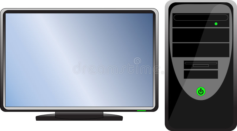 Computer hardware. Black icon (computer with monitor royalty free illustration