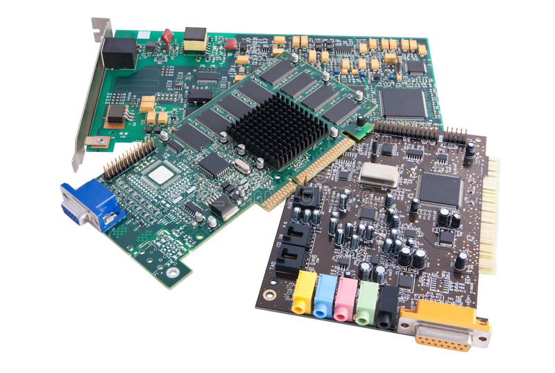Computer hardware components. Three computer hardware components (internal modem, graphics card, audio card) displayed over a white background. Includes clipping stock photos