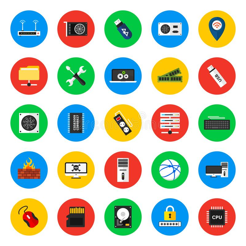 Computer hardware, device, internet and security, icons vector illustration