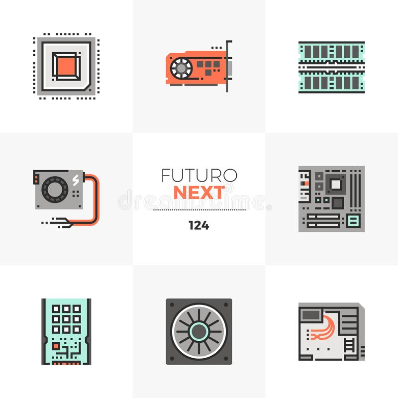 Computer Hardware Futuro Next Icons. Modern flat icons set of computer hardware parts and components. Unique color flat graphics elements with stroke lines vector illustration