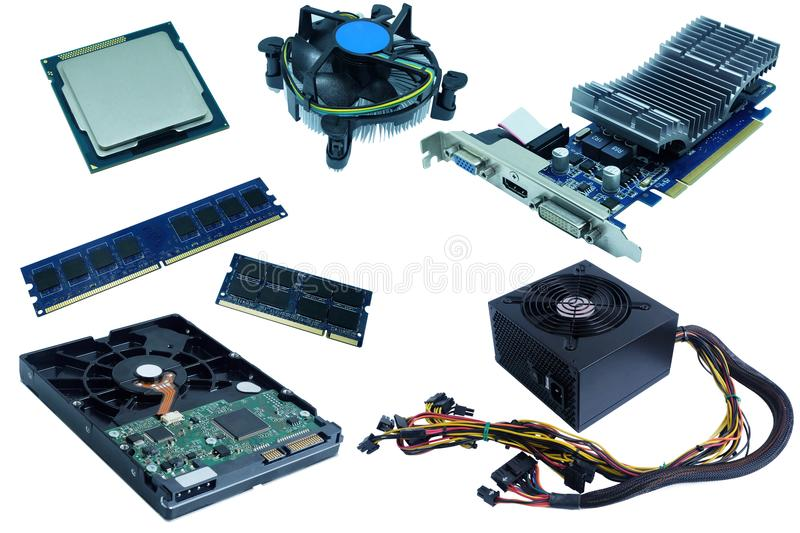 Computer Hardware, hard drive, cpu, cpu fan, ram, vga card, and power supply,. Isolated on white background stock photography