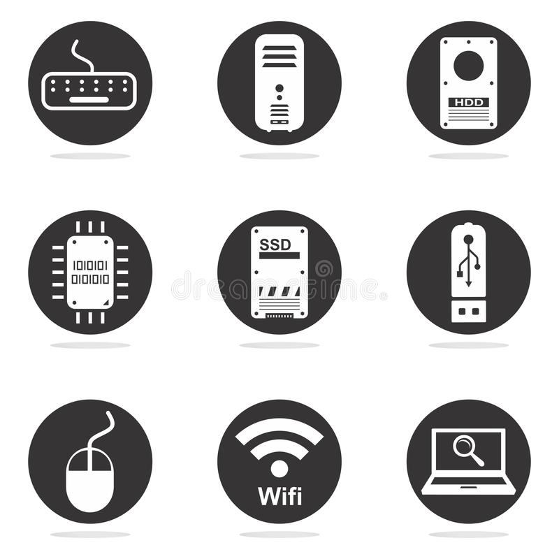 Computer hardware icon set. Black and white computer hardware icon set royalty free illustration