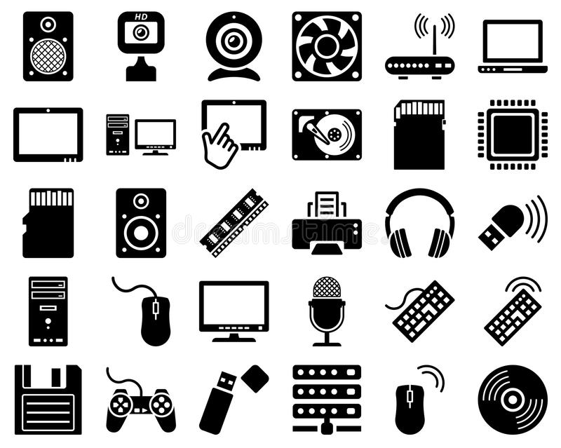 Computer Hardware Icon Set Stock Vector Illustration Of