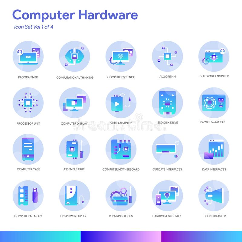 Computer Hardware Icon Set. Modern gradient style. Vector EPS 10. For website and application purpose vector illustration