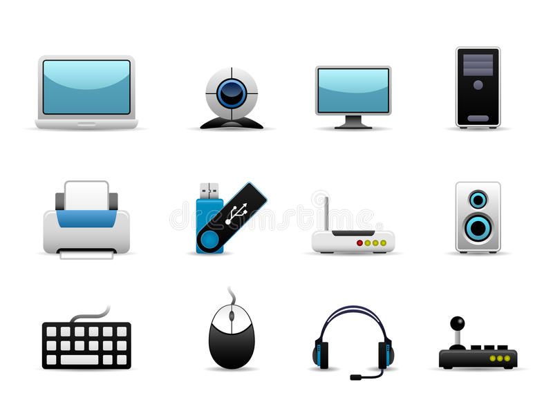 Computer Hardware Icons. A group of IT hardwares icons which include screen, cpu, printing devices, storage, and controller devices vector illustration