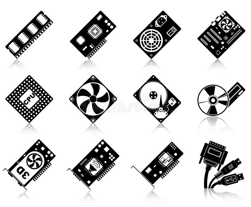 Download Computer hardware icons stock vector. Illustration of network - 25306423