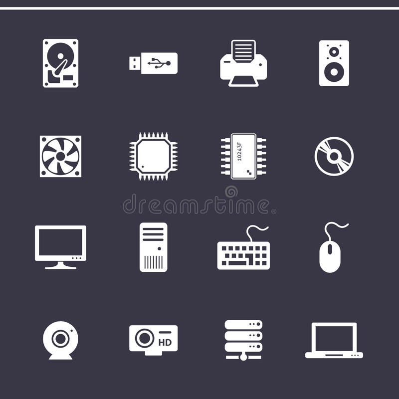 Download Computer Hardware Icons stock vector. Illustration of disk - 49534987
